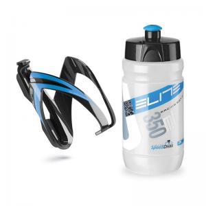 Kit Elite Portabidon Ceo Negro-Azul + Bidon Transparente-Azul