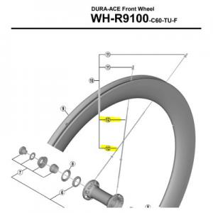 Radio Delantero SHIMANO WH-R9100 C60 Tubular 256mm