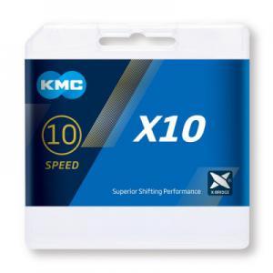 Cadena KMC X10 10v Plata/Negro 122 Eslabones