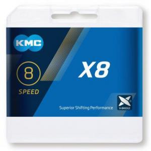 Cadena KMC X8 Plata/Gris 8v 114 Eslabones