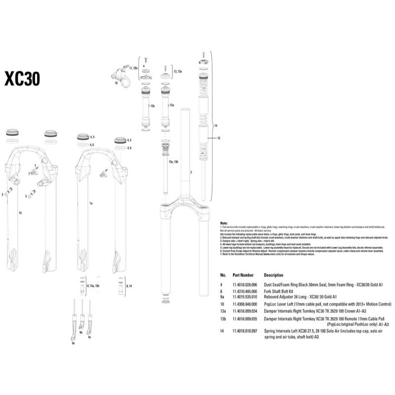Repuesto Cartucho Compresion Y Rebote Xc30 Tk Remoto 26//29 100Mm Rock Shox